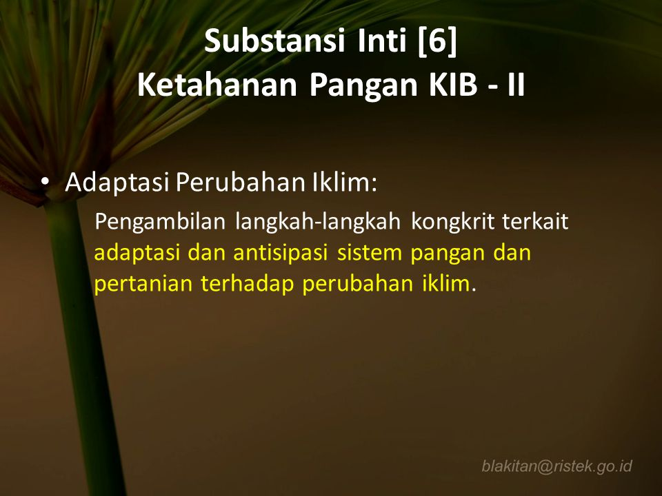 Substansi Inti [6] Ketahanan Pangan KIB - II